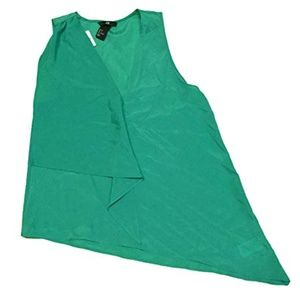 H & M Sleeveless Asymmetrical Blouse Teal Green 4